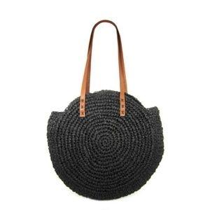 NWT black boho-chip straw bag